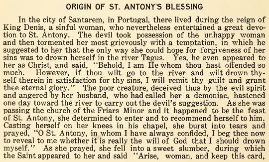 Origin of St. Anthony's Blessing - June 1916