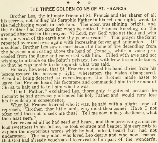 The Three Gold Coins of St. Francis - May 1916