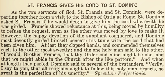 St. Francis Gives His Cord to St. Dominic - March 1919
