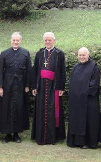 From left to right: Bishop Jean-Michel Faure, Bishop Richard Williamson, Dom Thomas Aquinas (future bishop)